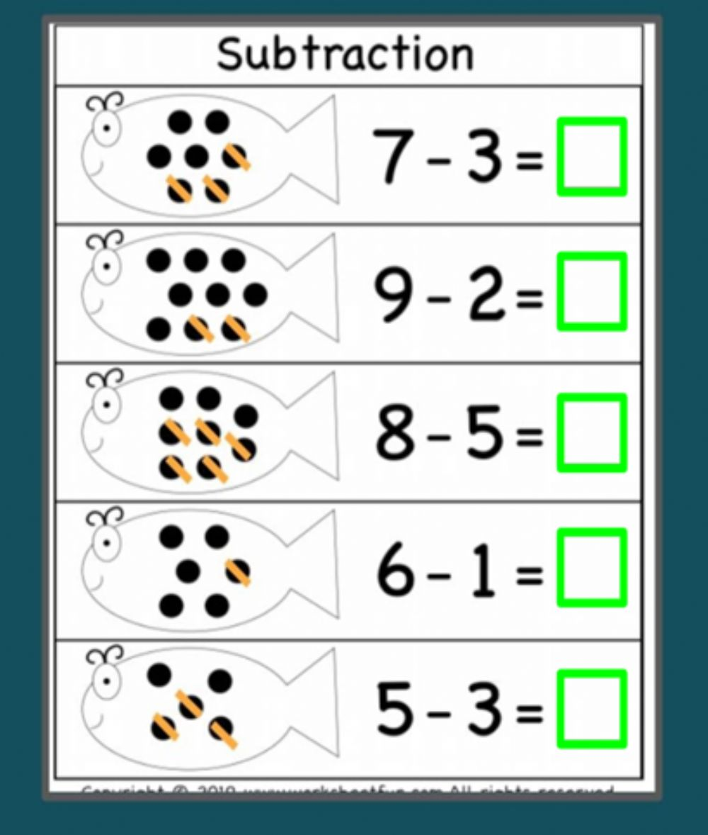 hight resolution of Subtraction worksheet for kindergarten