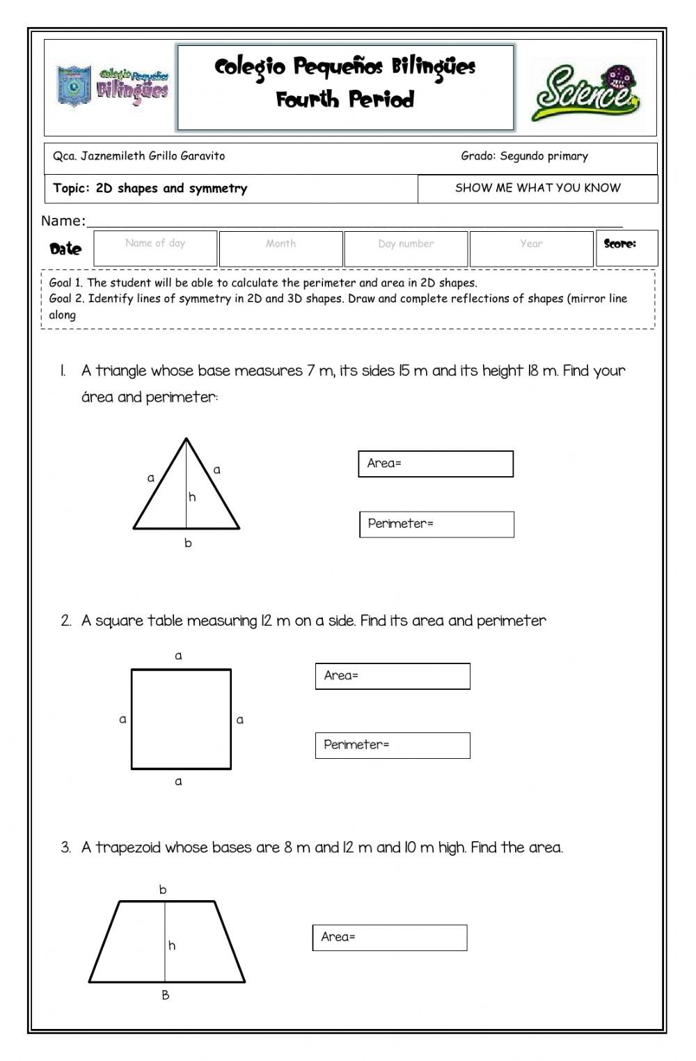 medium resolution of Show me what you know - 2D shapes -second grade- fourth term -2020 worksheet