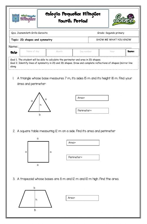small resolution of Show me what you know - 2D shapes -second grade- fourth term -2020 worksheet