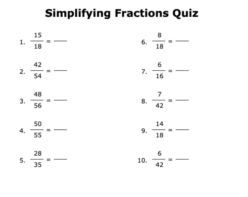 hight resolution of Simplify Fractions Formative worksheet