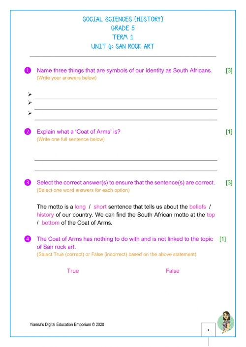 small resolution of Gr.5-History-Term 1-Unit 6-South Africa CAPS worksheet