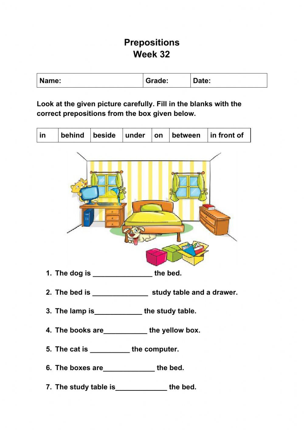 hight resolution of Prepositions online exercise for Grade 2