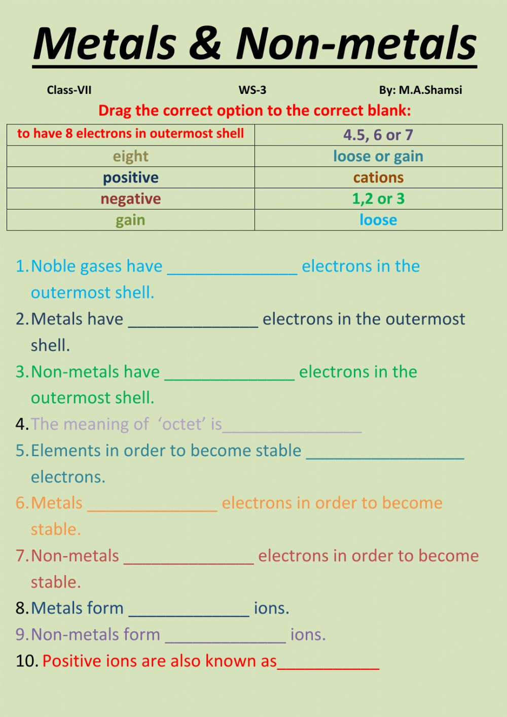 hight resolution of Metals and non- metals interactive worksheet