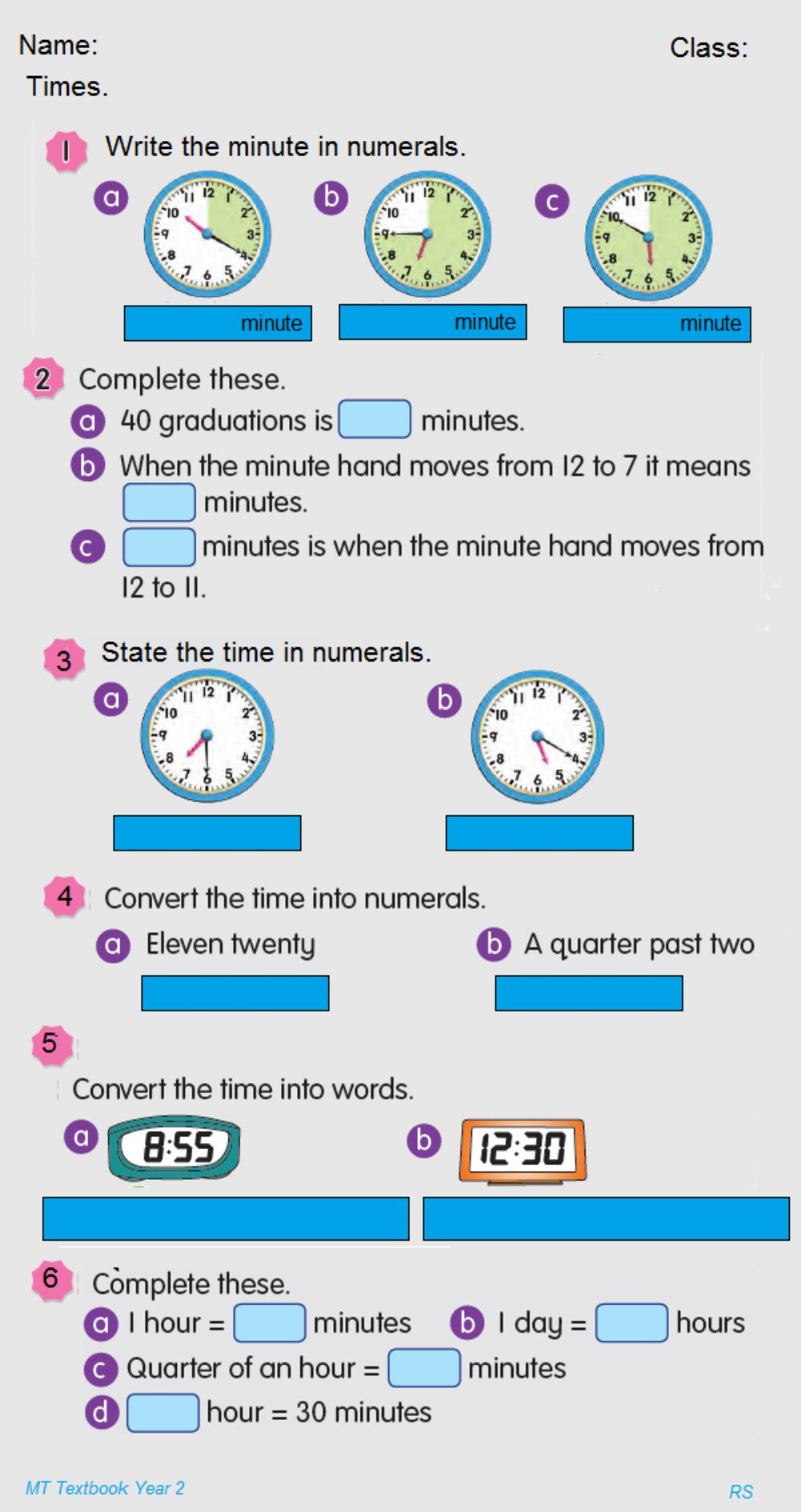 hight resolution of Time Year 2 worksheet
