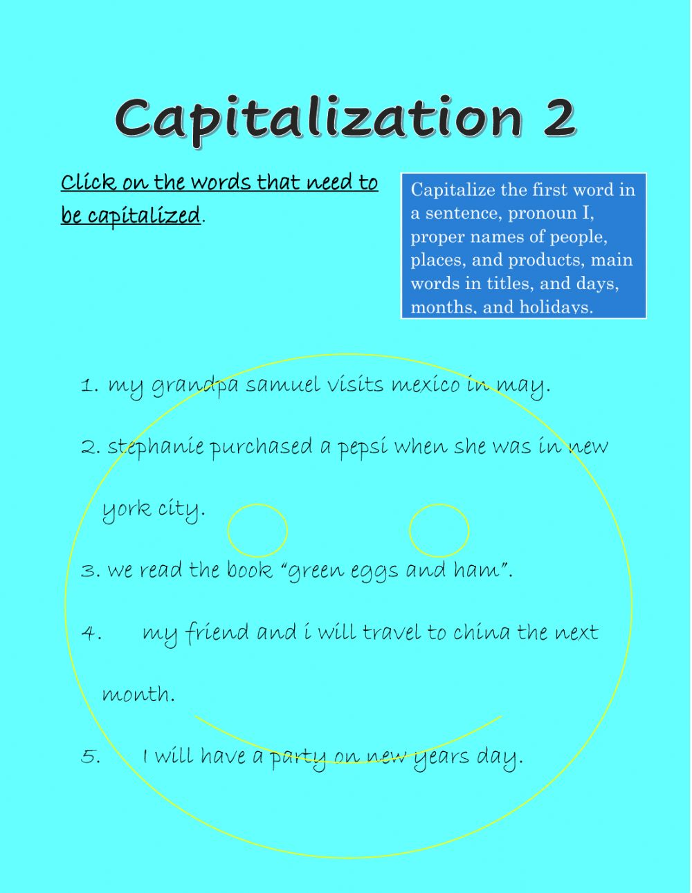 hight resolution of Capitalization online exercise for Grade 3