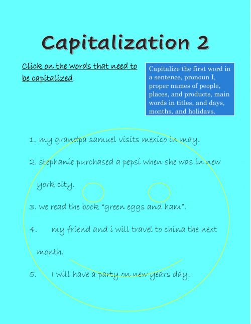 small resolution of Capitalization online exercise for Grade 3