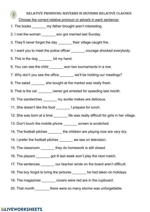 small resolution of Relative pronouns - adverbs worksheet