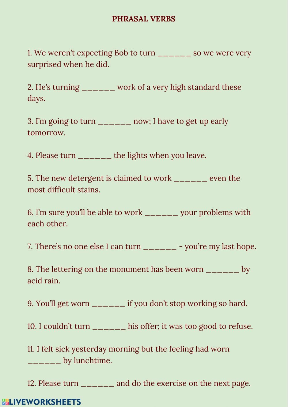 hight resolution of Phrasal Verbs online exercise for 9-11 grades