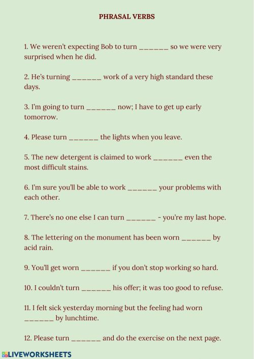 small resolution of Phrasal Verbs online exercise for 9-11 grades