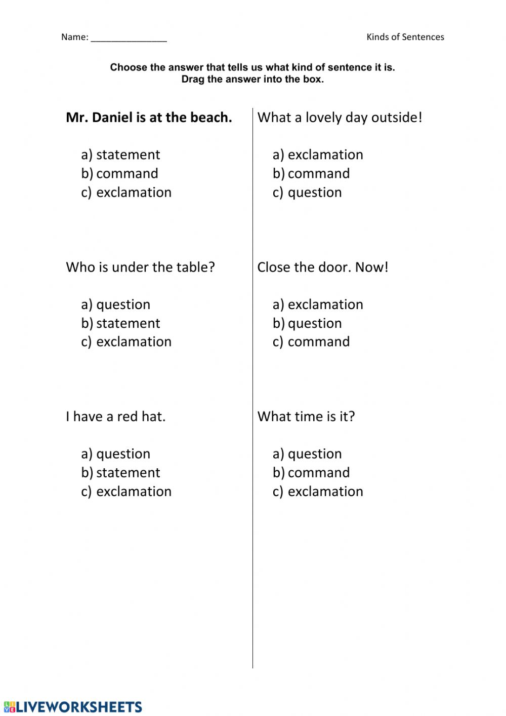 hight resolution of Types of Sentences interactive worksheet