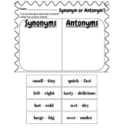 Synonyms and Antonyms worksheet [ 1291 x 1000 Pixel ]