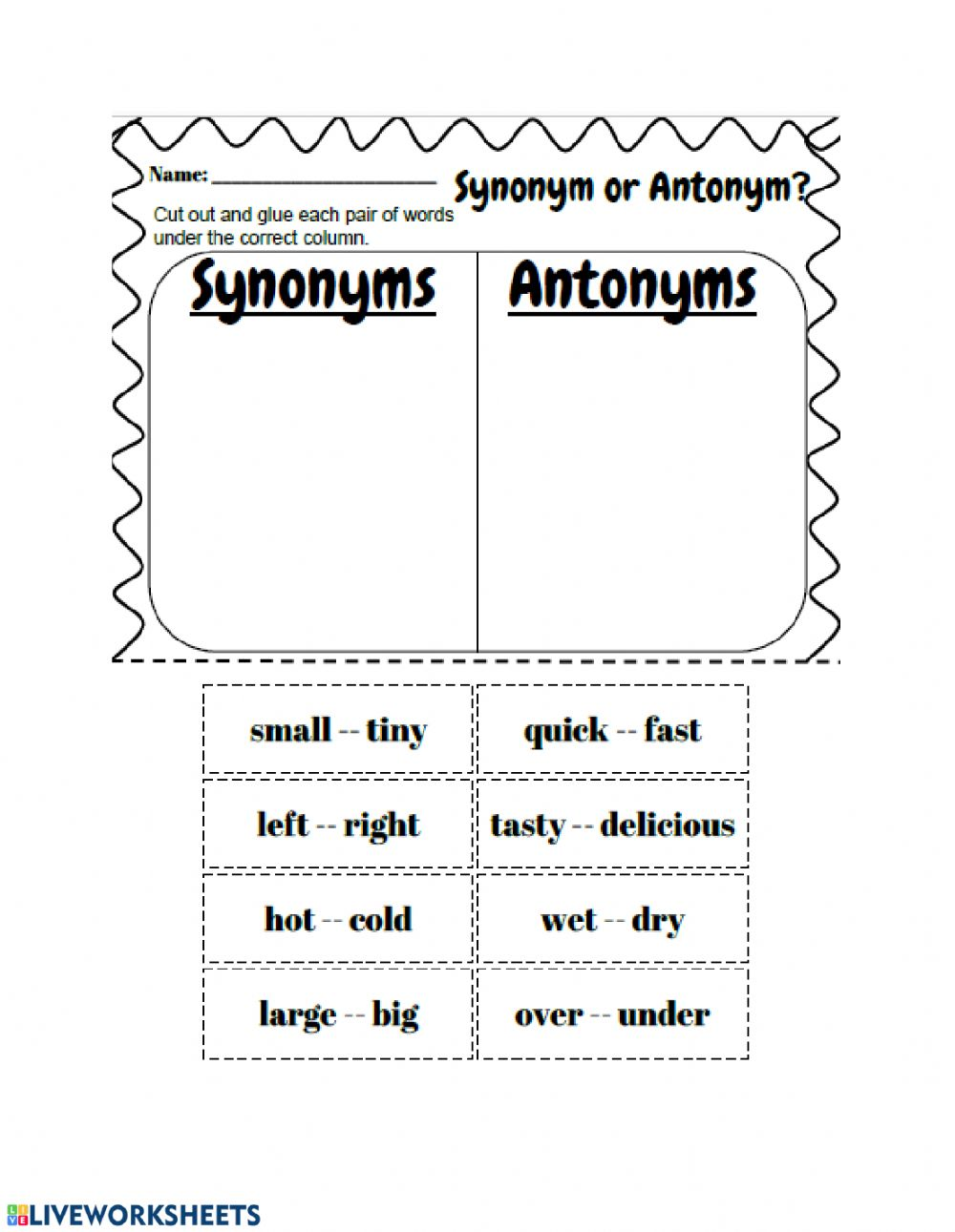 hight resolution of Synonyms and Antonyms worksheet