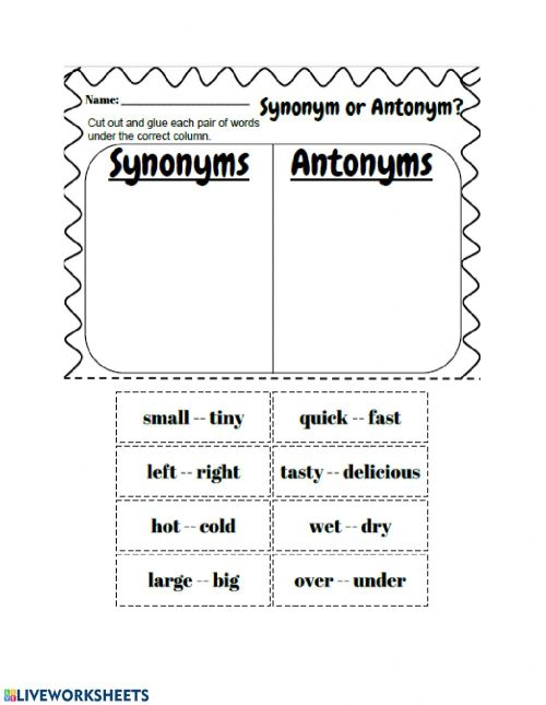 small resolution of Synonyms and Antonyms worksheet