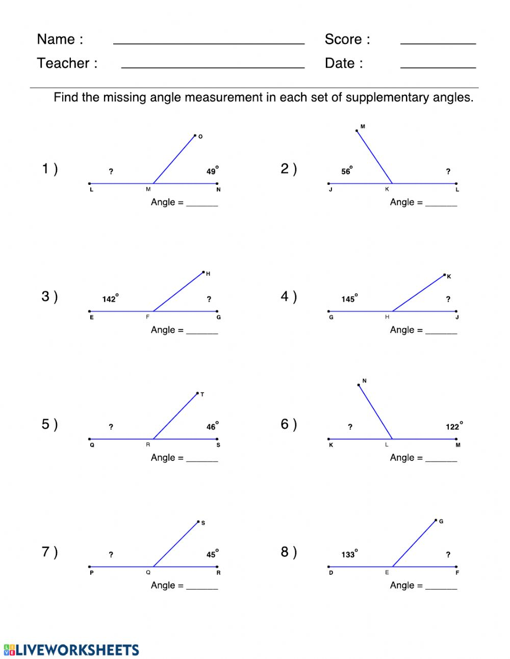 hight resolution of Supplementary angles worksheet