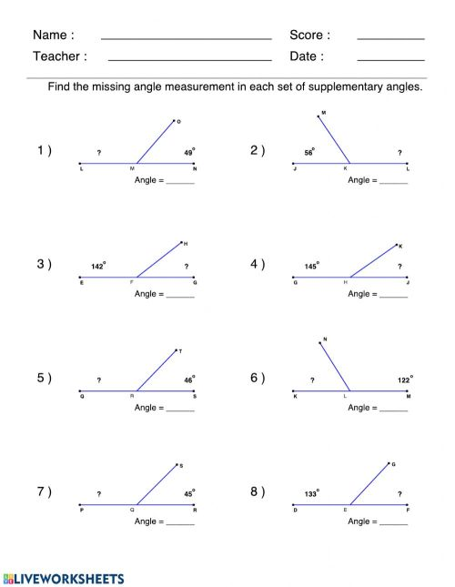 small resolution of Supplementary angles worksheet