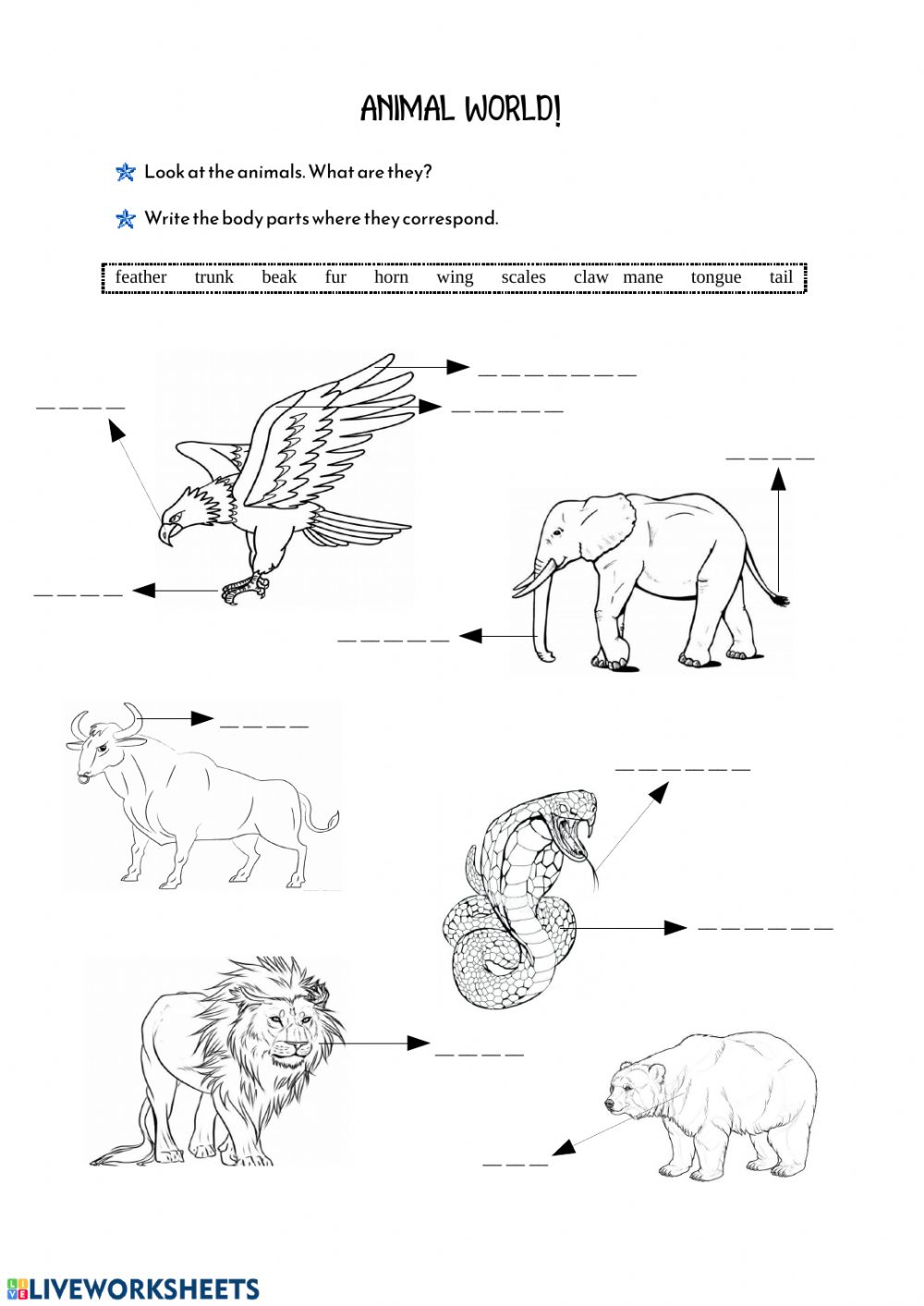 hight resolution of Animals' Body Parts worksheet