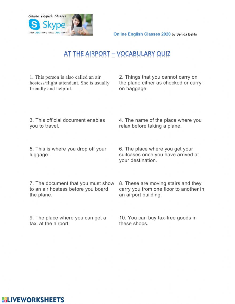 medium resolution of Air travel - quiz worksheet