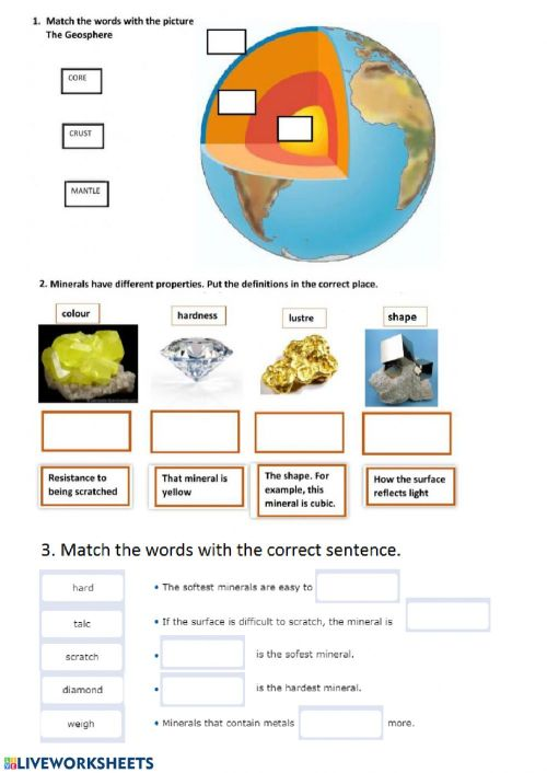 small resolution of Minerals worksheet