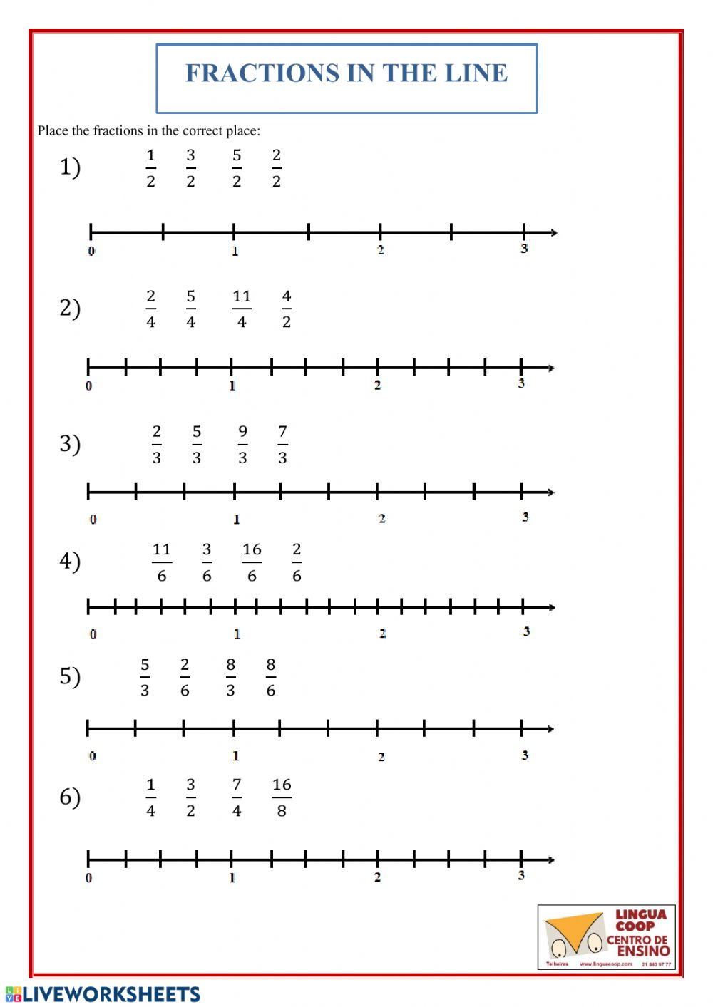 hight resolution of Fractions in the line worksheet