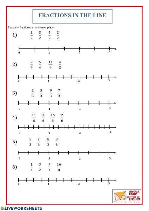 small resolution of Fractions in the line worksheet