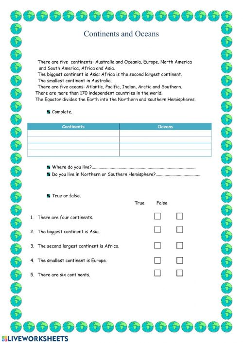 small resolution of Continents and Oceans interactive worksheet