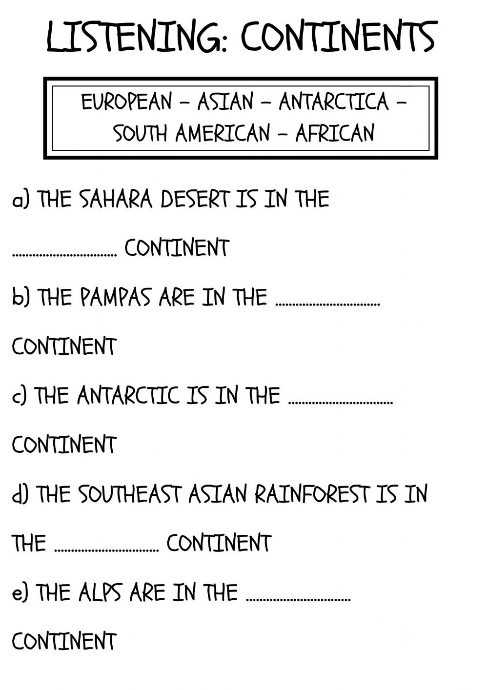 hight resolution of Continents and habitats worksheet