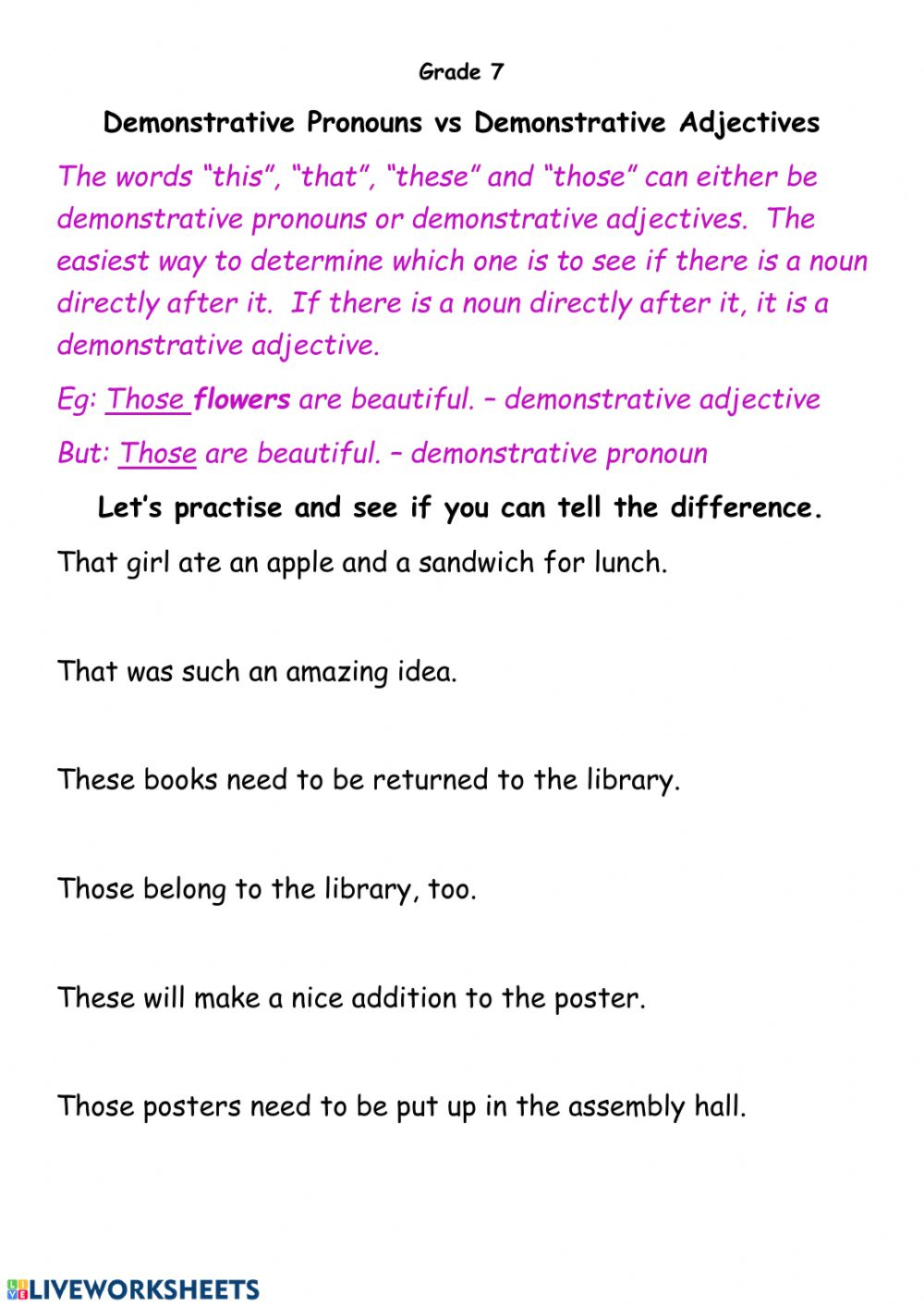 hight resolution of Demonstrative Pronouns and Adjectives worksheet