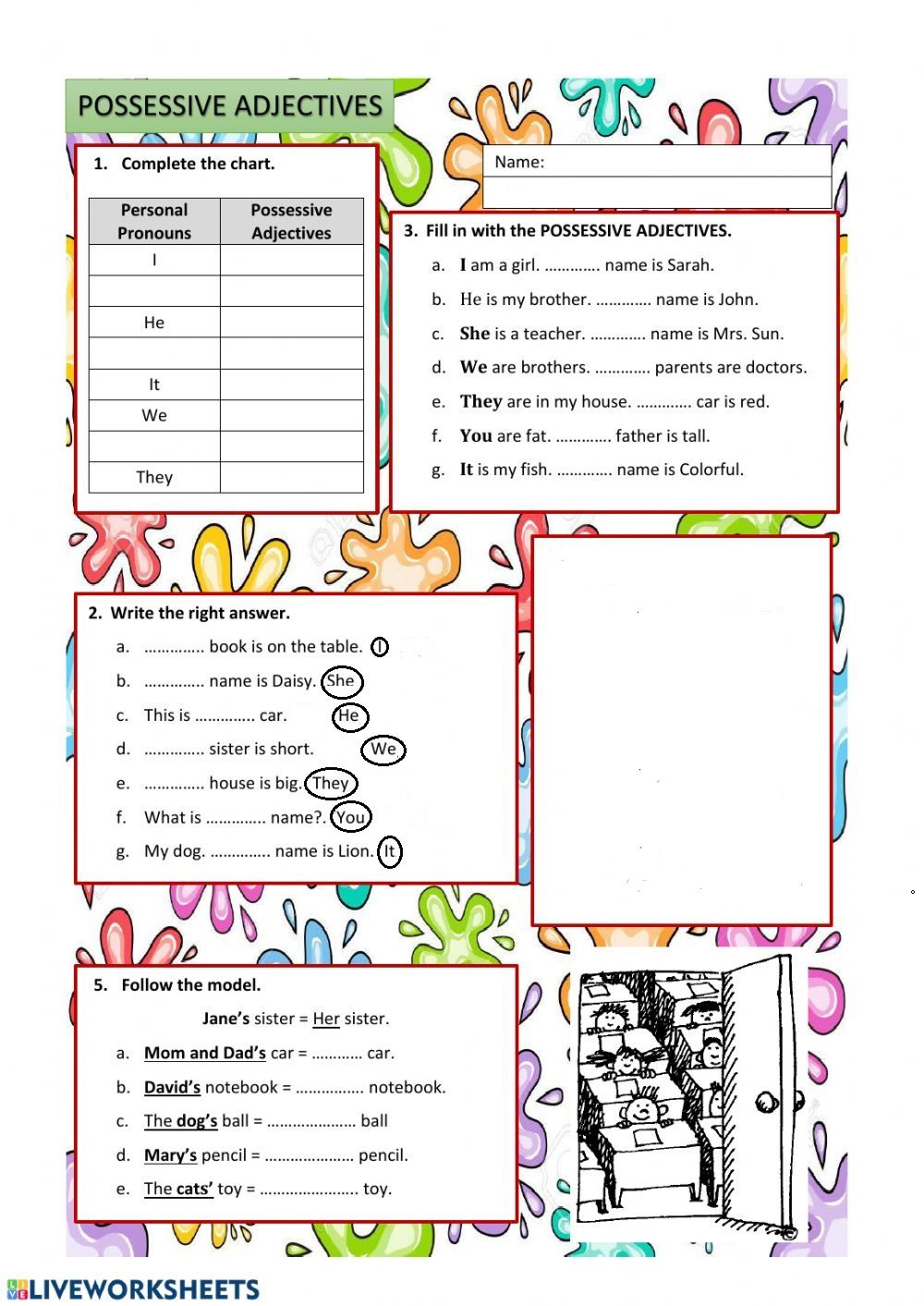 hight resolution of Possessive adjectives exercise for grade 3