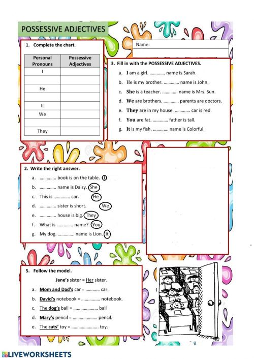 small resolution of Possessive adjectives exercise for grade 3