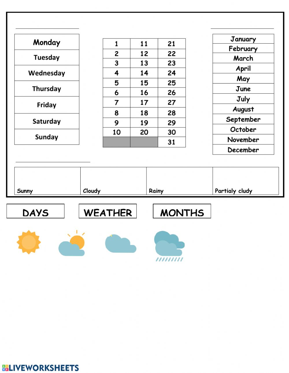 hight resolution of English daily calendar worksheet