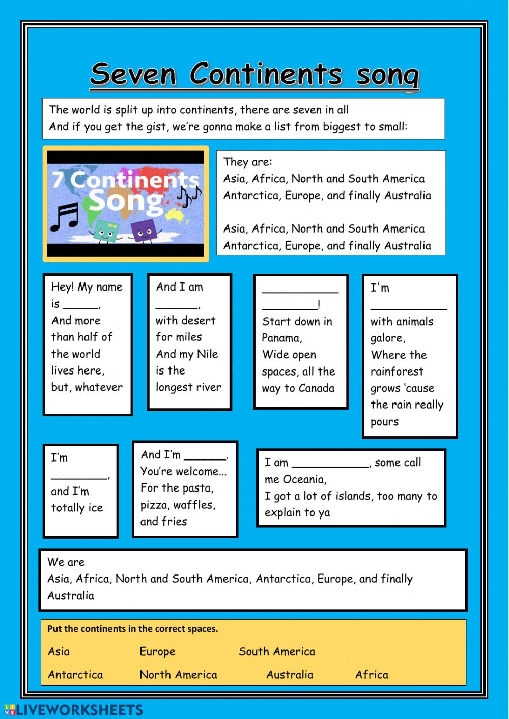 hight resolution of 7 Continents (extra) worksheet