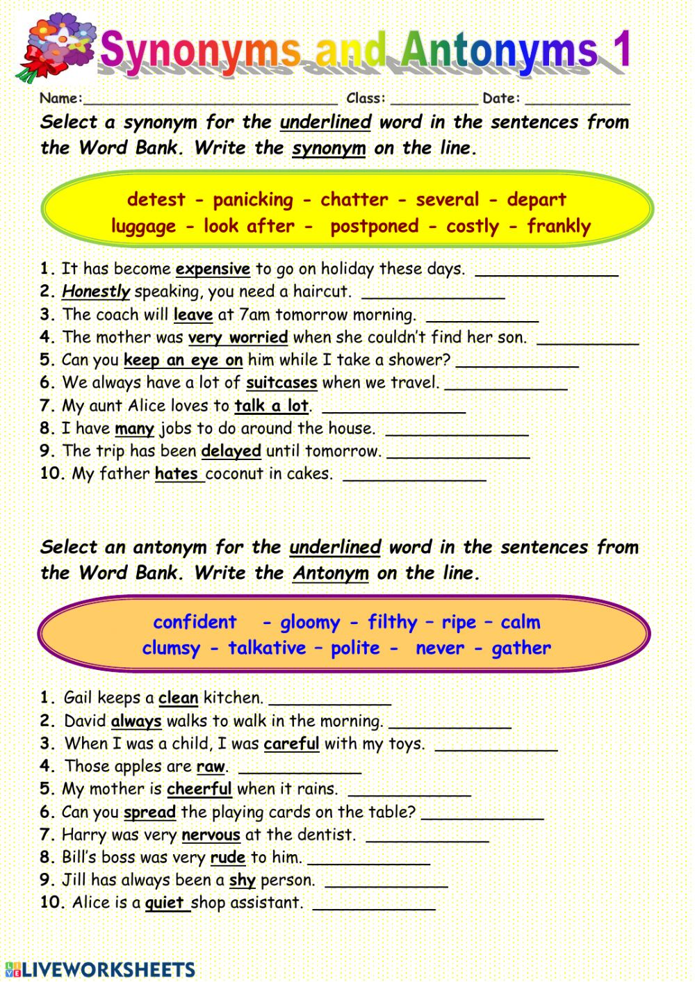 hight resolution of Synonyms interactive worksheet