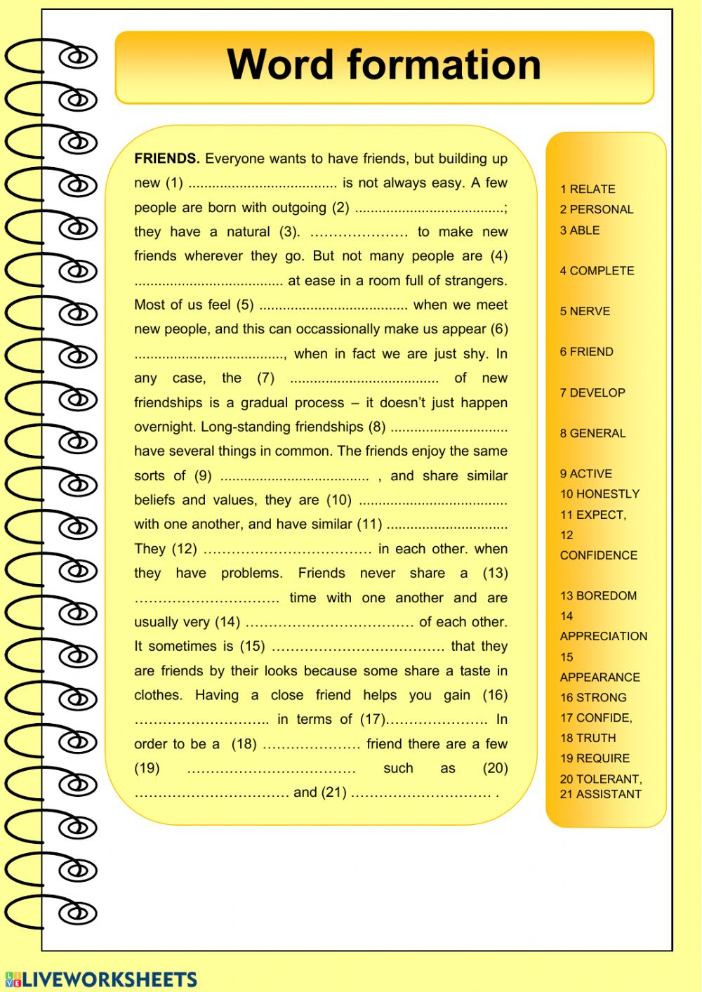hight resolution of Word formation free worksheet