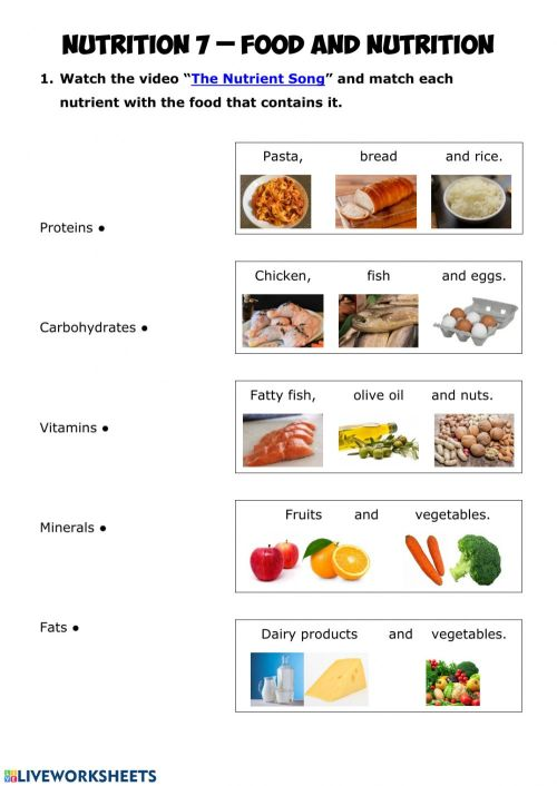 small resolution of NUTRITION 7 - Food and nutrition worksheet