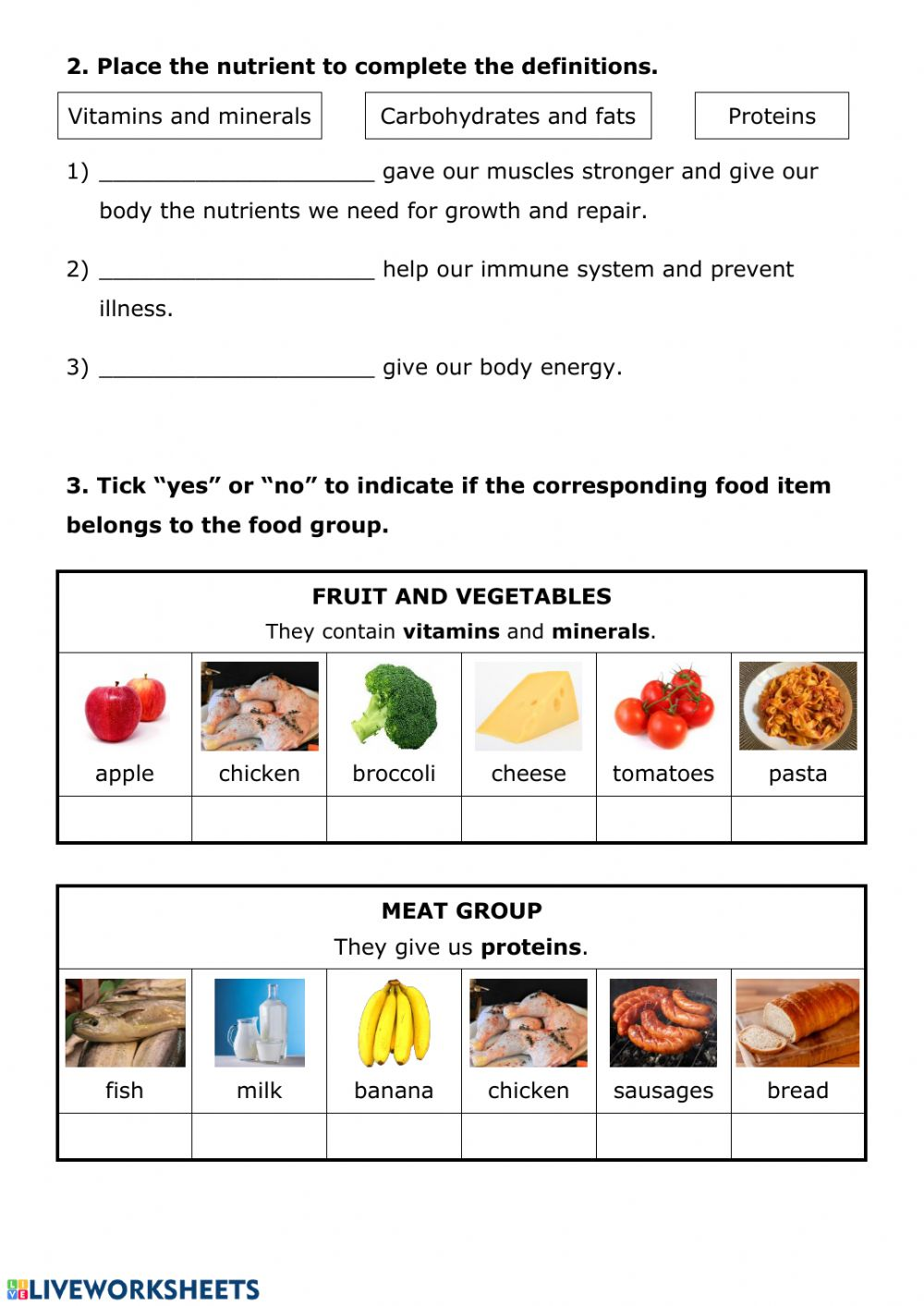 hight resolution of NUTRITION 7 - Food and nutrition worksheet