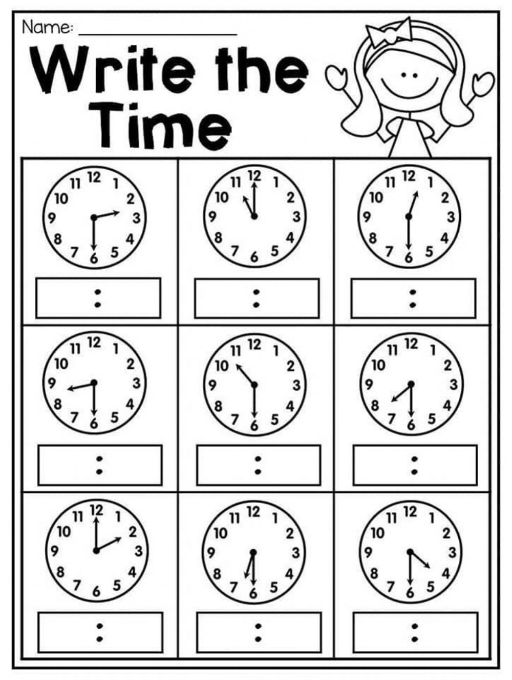 Time: Telling the time pdf exercise