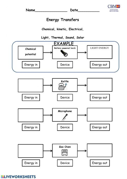 small resolution of Energy transformation worksheet