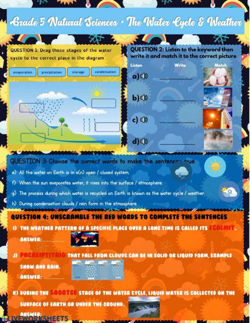 small resolution of Grade 5 Water Cycle \u0026 Weather worksheet