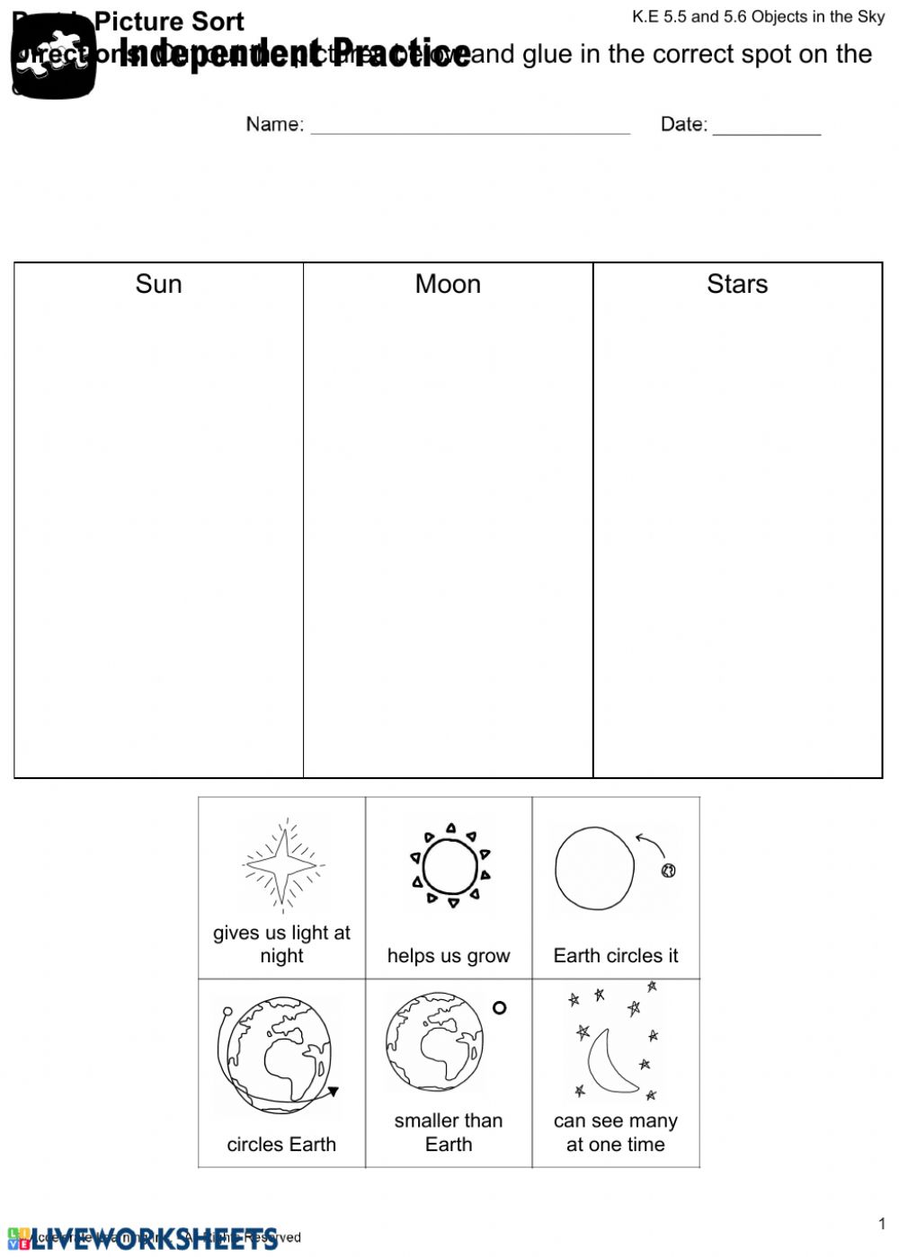 hight resolution of Objects in the sky worksheet