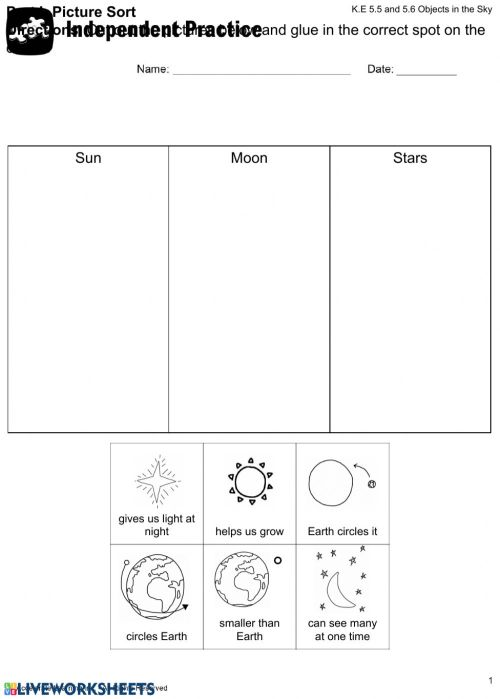 small resolution of Objects in the sky worksheet