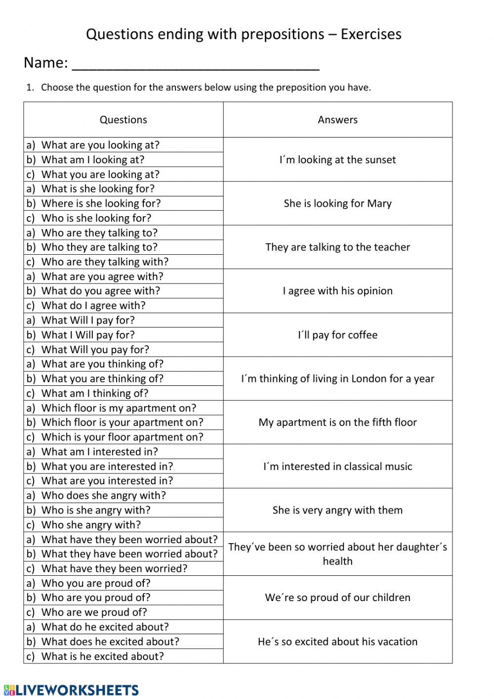 Questions Ending With Prepositions Worksheet