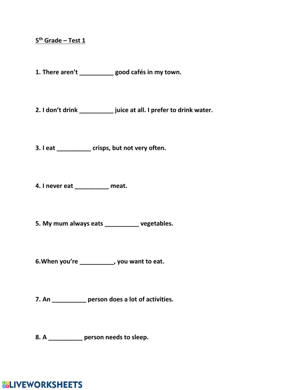 hight resolution of 5th Grade - Test 1 worksheet