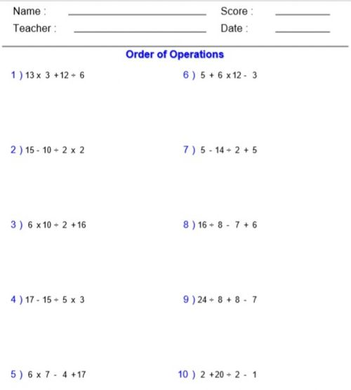 small resolution of Order of Operations (MDAS) worksheet