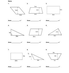 Area of Quadrilaterals and Triangles worksheet [ 1291 x 1000 Pixel ]