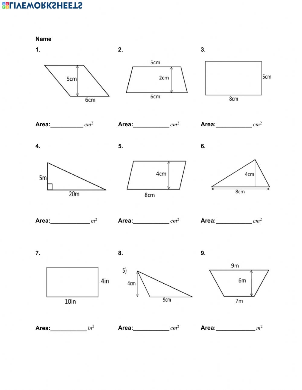 hight resolution of Area of Quadrilaterals and Triangles worksheet