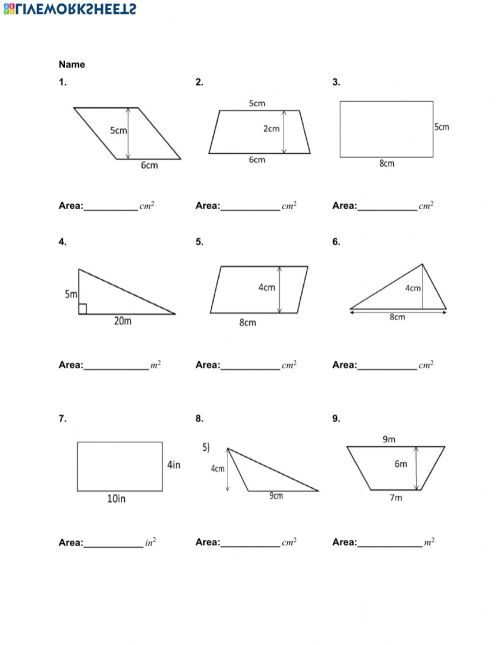 small resolution of Area of Quadrilaterals and Triangles worksheet