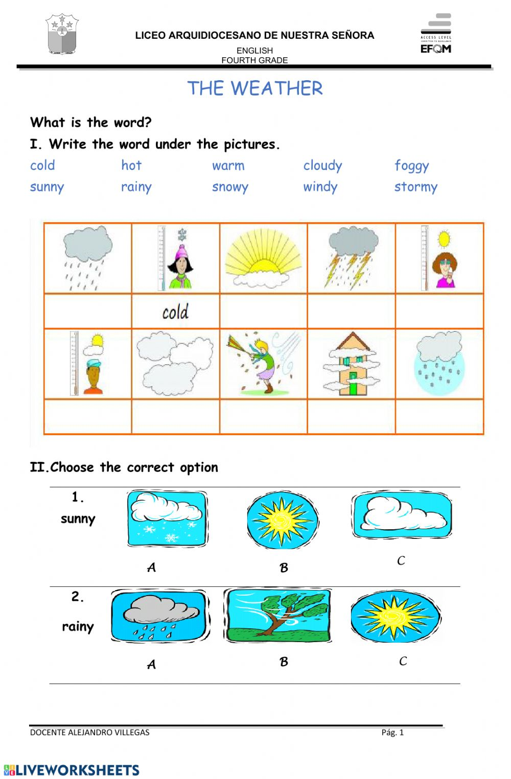 medium resolution of The weather interactive worksheet for 4