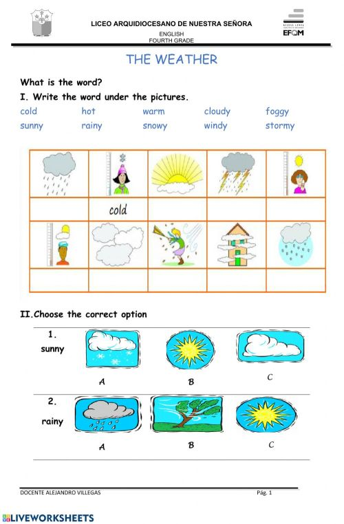 small resolution of The weather interactive worksheet for 4