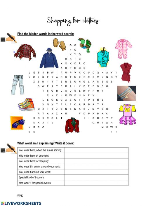small resolution of Shopping for clothes worksheet