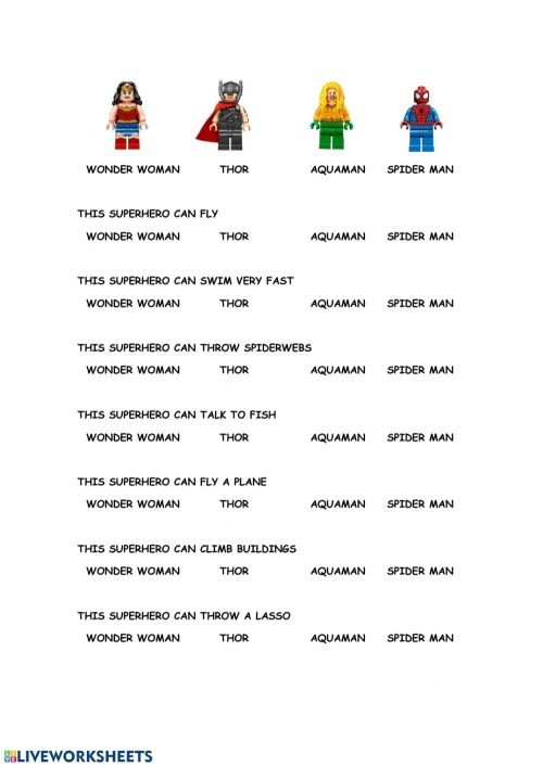 small resolution of Superhero's abilities worksheet
